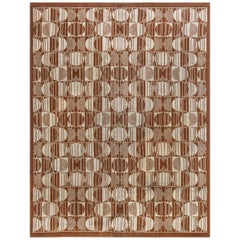 Art Deco Brown and Sand Handwoven Wool Carpet