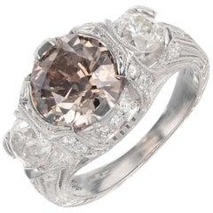 Art Deco Brown Diamond Platinum Engagement Ring
