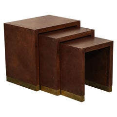 Art Deco Brown Leather and Brass Set of Three Nesting Tables