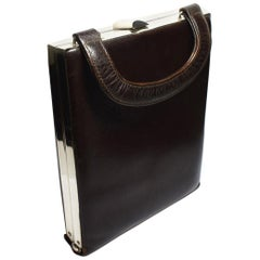 Art Deco Brown Leather and Chrome Box Bag
