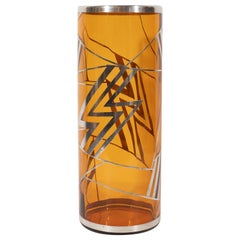 Art Deco Brown Topaz Glass Vase with Geometric Cubist Sterling Silver Overlays