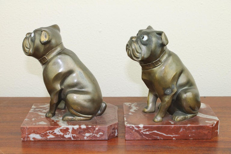 Art Deco Bulldog Bookends by Franjou, France For Sale 6
