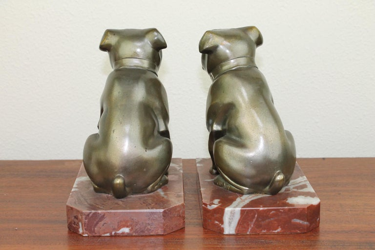 Art Deco Bulldog Bookends by Franjou, France For Sale 7