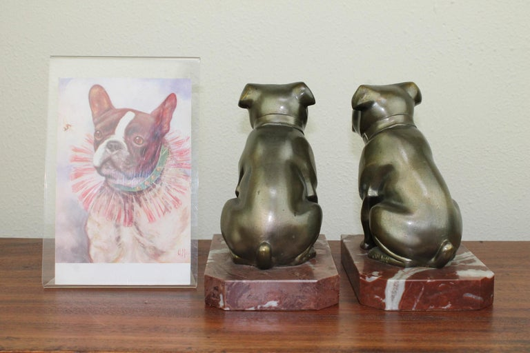 Art Deco Bulldog Bookends by Franjou, France For Sale 8