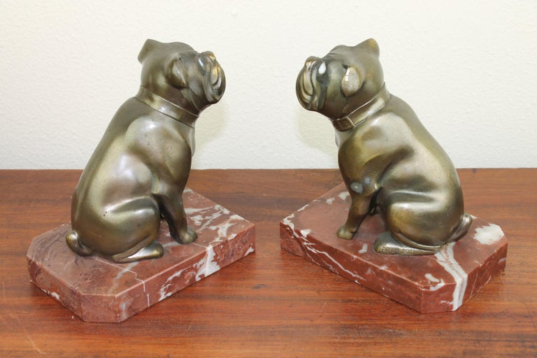Art Deco Bulldog Bookends by Franjou, France For Sale 9