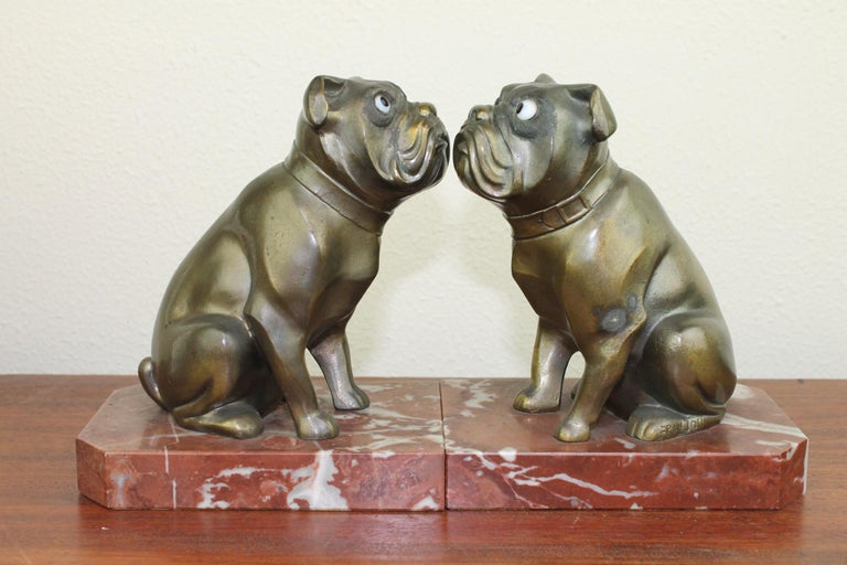 Art Deco Bulldog Bookends by Franjou, France For Sale 10