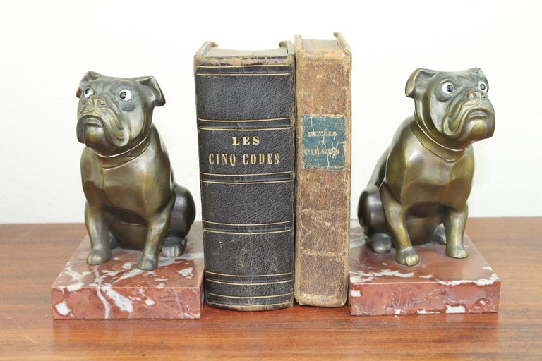 Art Deco Bulldog Bookends by Franjou, France For Sale 14