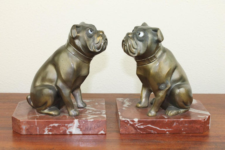 French Art Deco Bulldog Bookends by Franjou, France For Sale
