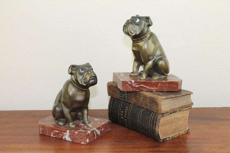 20th Century Art Deco Bulldog Bookends by Franjou, France For Sale