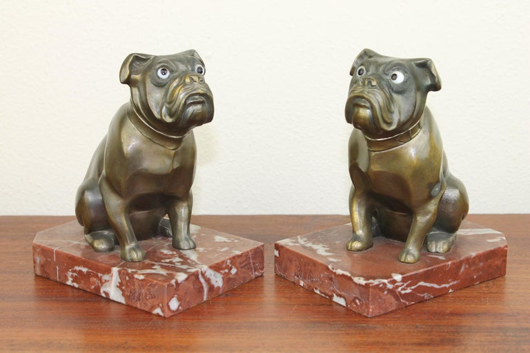 Metal Art Deco Bulldog Bookends by Franjou, France For Sale