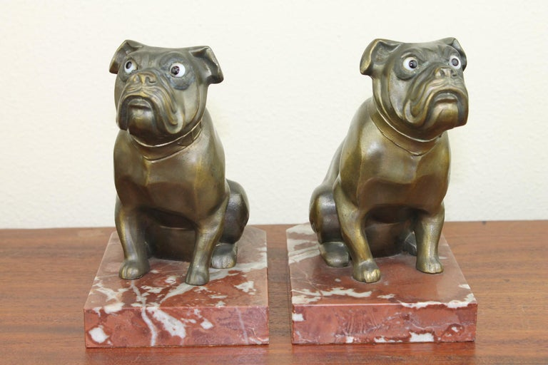 Art Deco Bulldog Bookends by Franjou, France For Sale 1