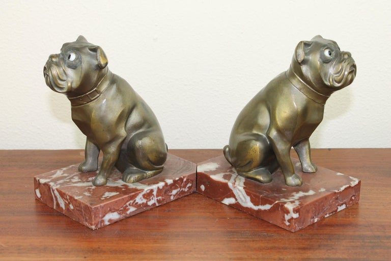 Art Deco Bulldog Bookends by Franjou, France For Sale 3