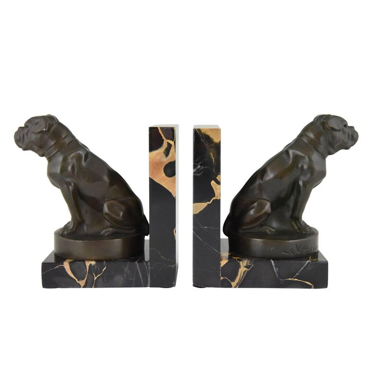 Art Deco Bulldog Bookends by Max Le Verrier, France, 1930