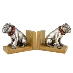 Art Deco bulldog bookends Franjou France 1930