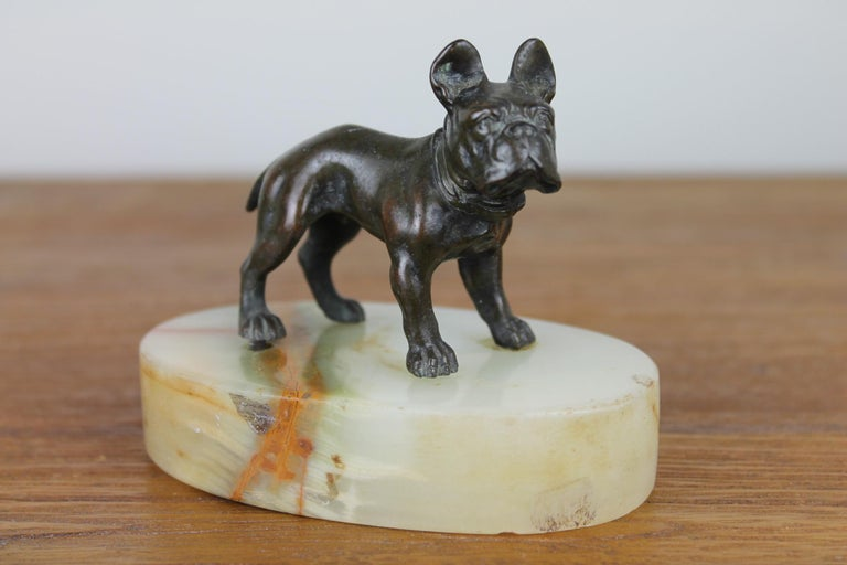 Art Deco Bulldog Dog Paperweight, Presse Papier on Marble Base For Sale 8