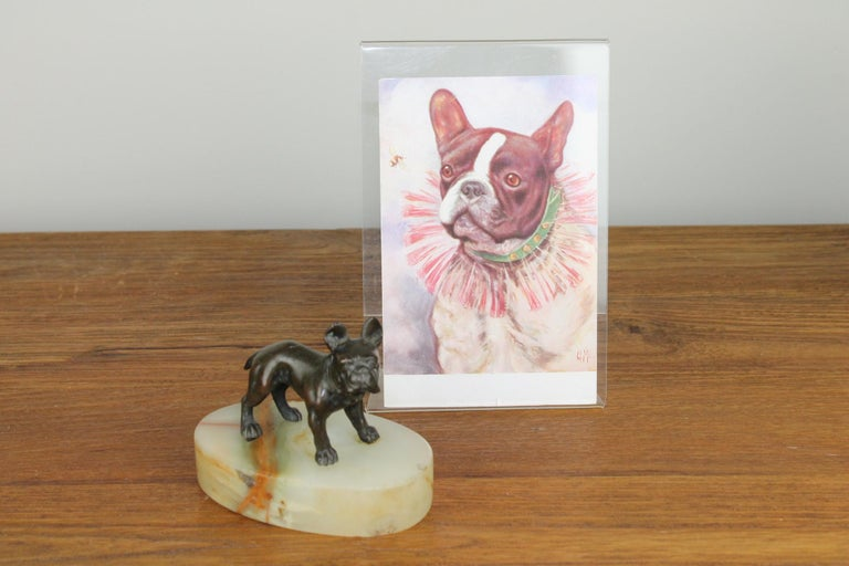 European Art Deco Bulldog Dog Paperweight, Presse Papier on Marble Base For Sale