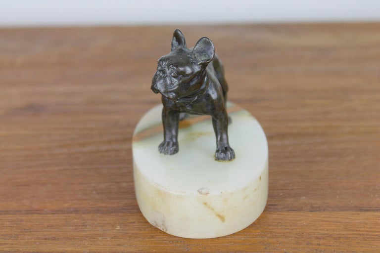 20th Century Art Deco Bulldog Dog Paperweight, Presse Papier on Marble Base For Sale