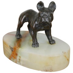 Art Deco Bulldog Dog Paperweight, Presse Papier on Marble Base