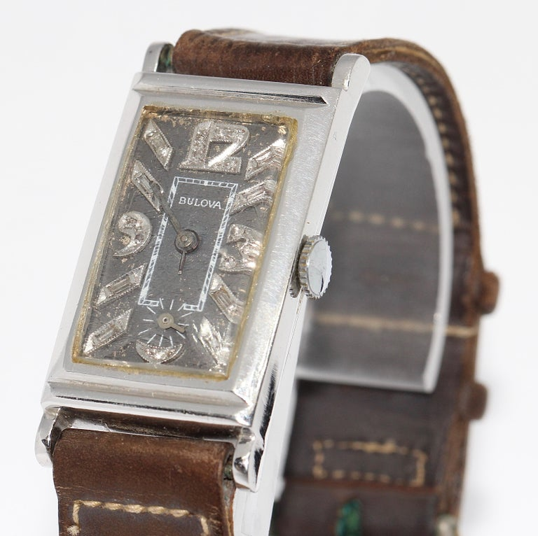 Art Deco Bulova Platinum Doctors Wrist Watch with Diamond dial.  The watch comes with a certificate of authenticity.