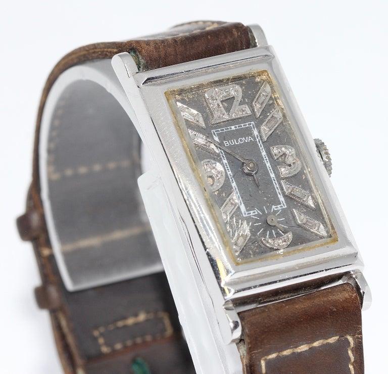 Art Deco Bulova USA Watch Co. Platinum Doctors Wristwatch with Diamond Dial In Fair Condition For Sale In Berlin, DE