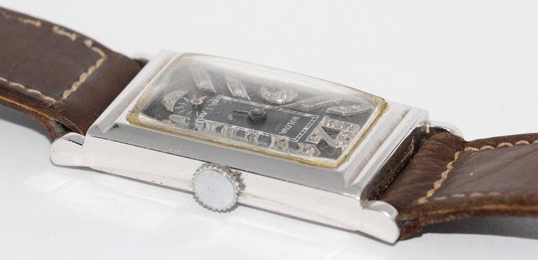 Women's or Men's Art Deco Bulova USA Watch Co. Platinum Doctors Wristwatch with Diamond Dial For Sale