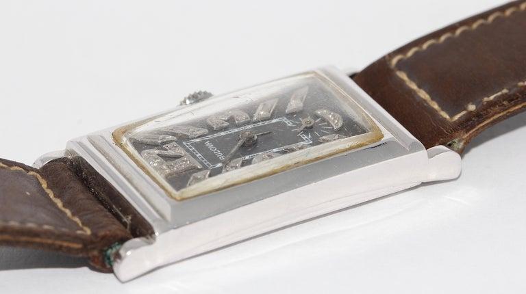 Art Deco Bulova USA Watch Co. Platinum Doctors Wristwatch with Diamond Dial For Sale 1