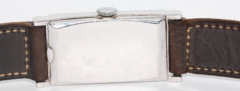 Art Deco Bulova USA Watch Co. Platinum Doctors Wristwatch with Diamond Dial For Sale 2