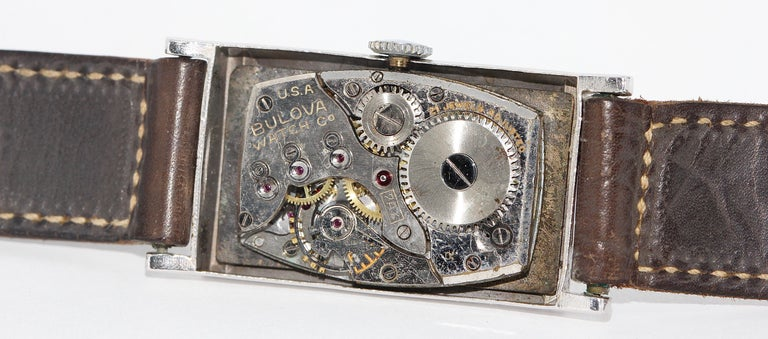 Art Deco Bulova USA Watch Co. Platinum Doctors Wristwatch with Diamond Dial For Sale 3