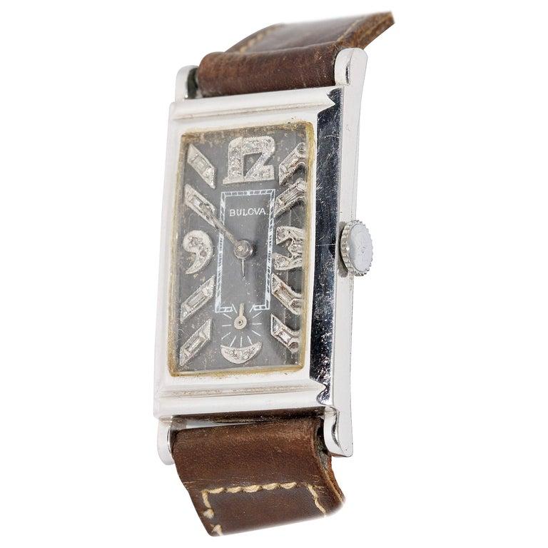 Art Deco Bulova USA Watch Co. Platinum Doctors Wristwatch with Diamond Dial For Sale