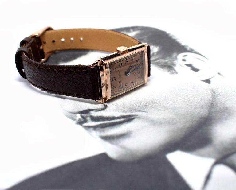 Art Deco Bulova WW2 14 Karat Gold, 21 Jewels, Gents Wrist Watch, Newly Serviced For Sale 9