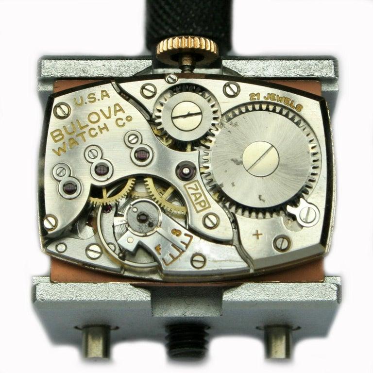 Art Deco Bulova WW2 14 Karat Gold, 21 Jewels, Gents Wrist Watch, Newly Serviced For Sale 13
