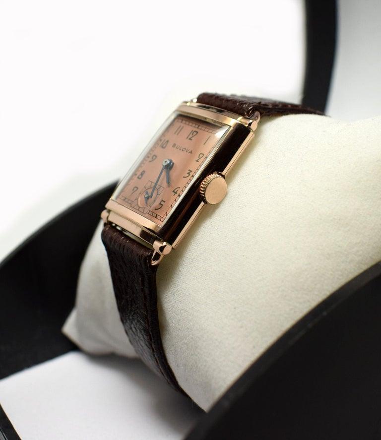 Art Deco Bulova WW2 14 Karat Gold, 21 Jewels, Gents Wrist Watch, Newly Serviced For Sale 1