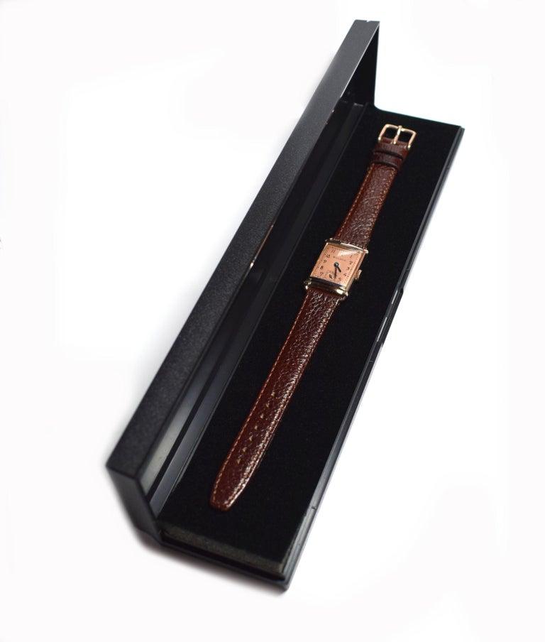 Art Deco Bulova WW2 14 Karat Gold, 21 Jewels, Gents Wrist Watch, Newly Serviced For Sale 2