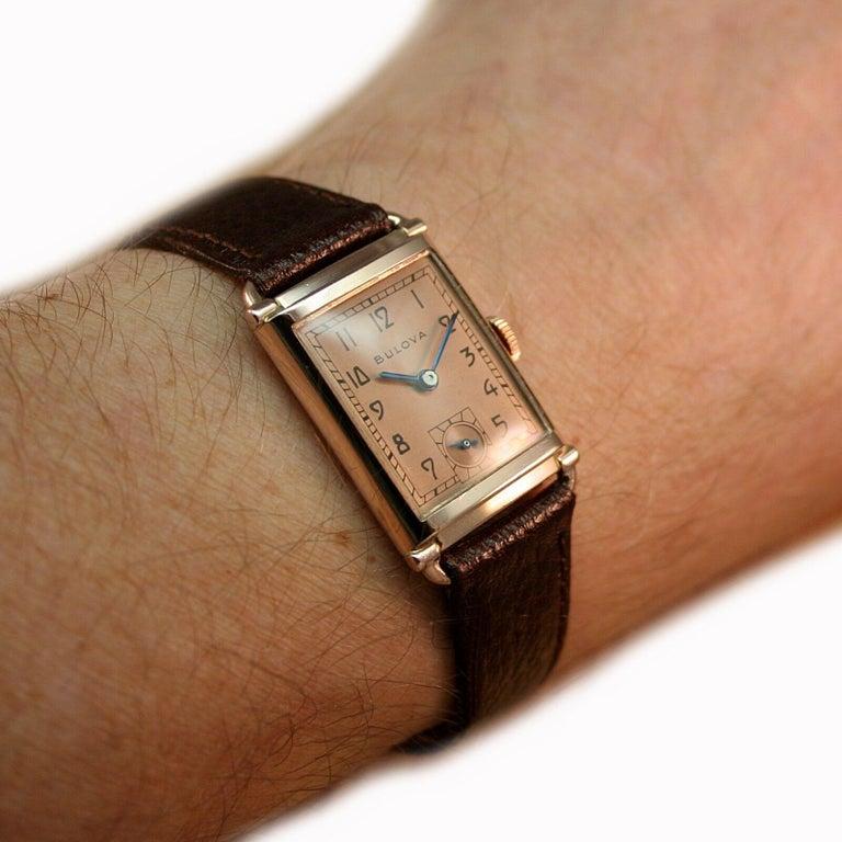Art Deco Bulova WW2 14 Karat Gold, 21 Jewels, Gents Wrist Watch, Newly Serviced For Sale 3