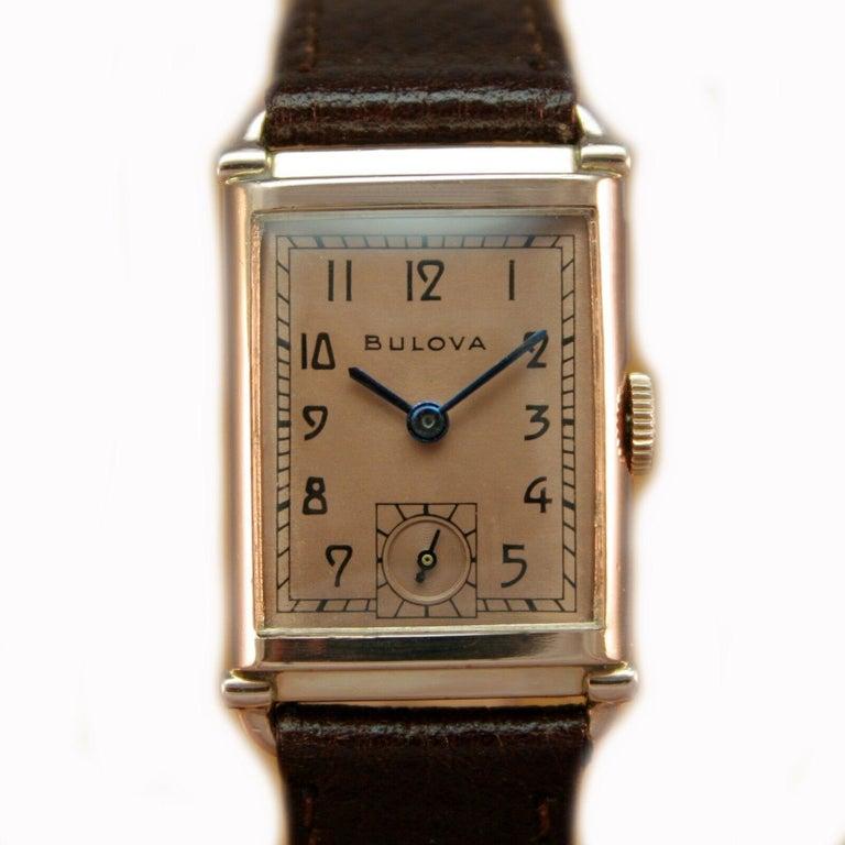 Art Deco Bulova WW2 14 Karat Gold, 21 Jewels, Gents Wrist Watch, Newly Serviced For Sale 4