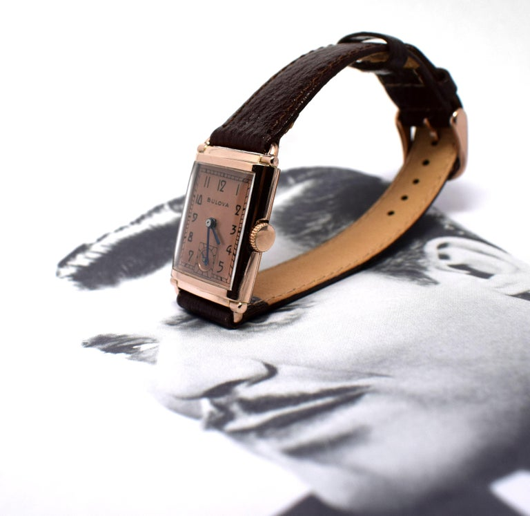 Art Deco Bulova WW2 14 Karat Gold, 21 Jewels, Gents Wrist Watch, Newly Serviced For Sale 5