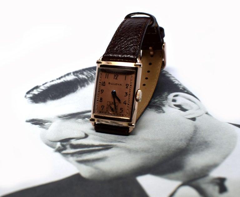 Art Deco Bulova WW2 14 Karat Gold, 21 Jewels, Gents Wrist Watch, Newly Serviced For Sale 6