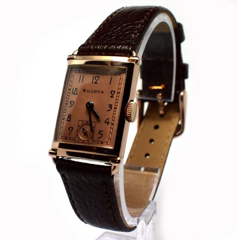Art Deco Bulova WW2 14 Karat Gold, 21 Jewels, Gents Wrist Watch, Newly Serviced In Excellent Condition For Sale In Westward ho, GB