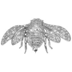 Art Deco Style Bumble Bee Platinum Brooch