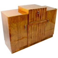 Art Deco Burl Cabinet Dry Bar with Mirrored Interior
