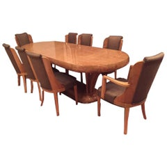Art Deco Burl Walnut Dinning Room Set Consisting of Table and Eight Chairs