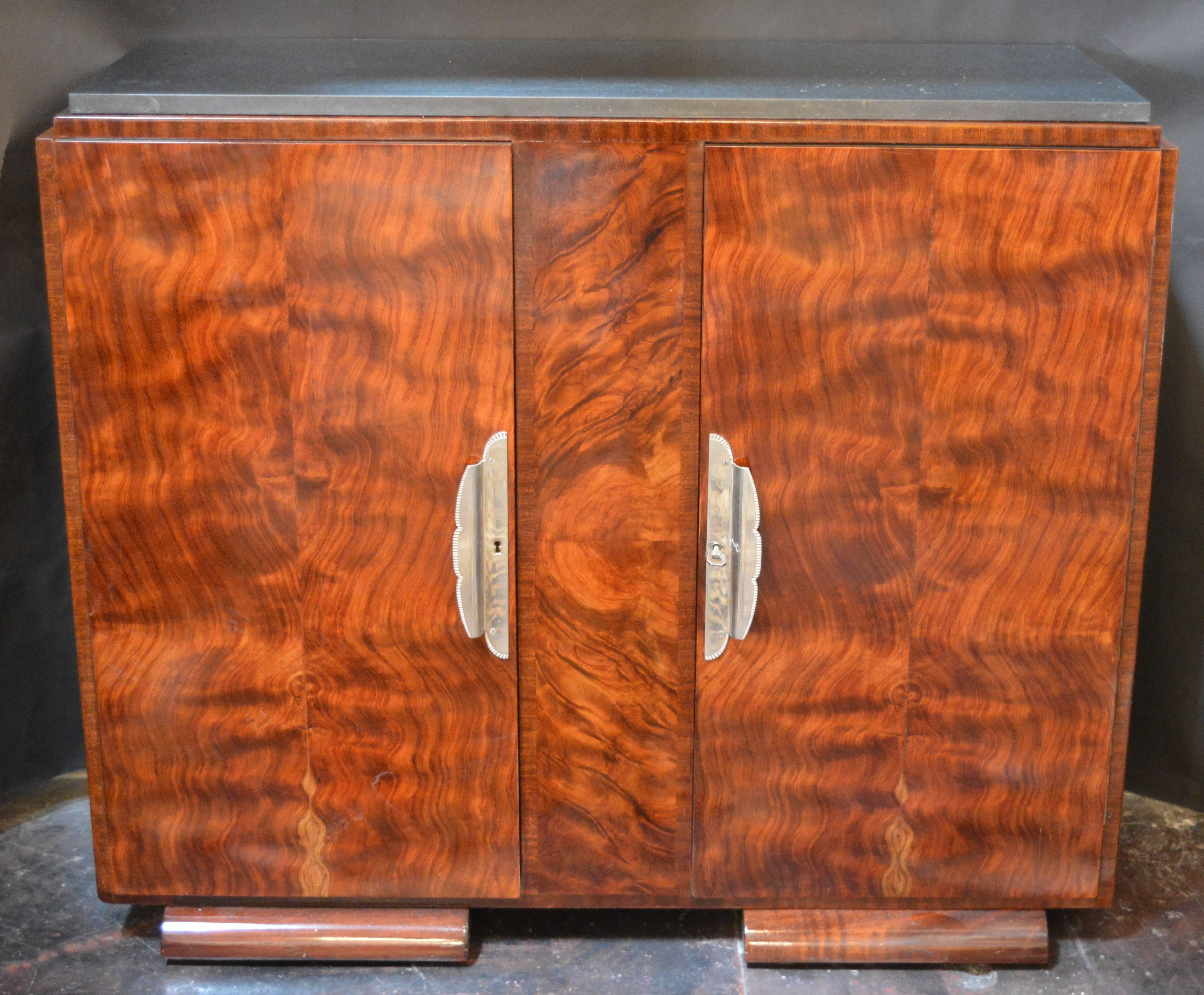 American Art Deco Burl Wood Cabinet For Sale