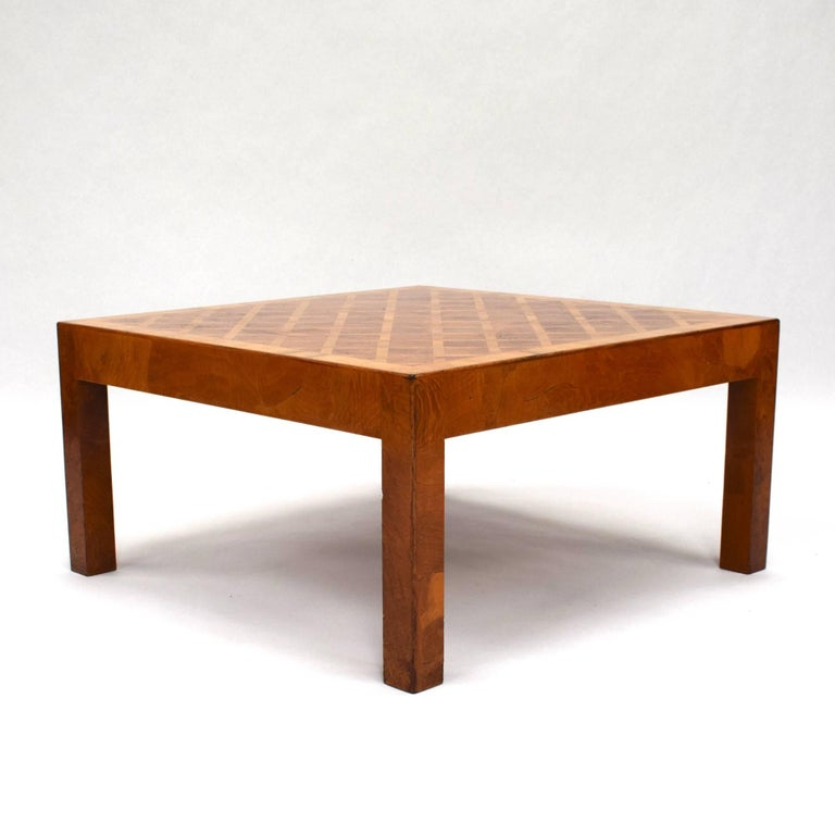 Burl Coffee Table Legs: Art Deco Burl Wood Marquetry Coffee Table For Sale At 1stdibs