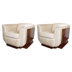 Art Deco Burled Bookmatched Walnut Club Chairs in Gauffraged Pierre Frey Velvet