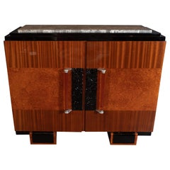 Art Deco Burled Carpathian Elm, Lacquer, Grey Exotic Marble and Mahogany Cabinet