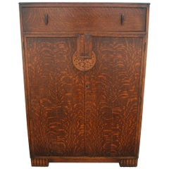 Art Deco Tiger Oak Cabinet