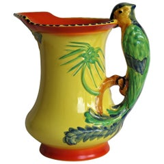 Art Deco Burleigh Ware Pottery Jug or Pitcher Parrot Handle Hand-Painted, 1930s