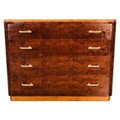 Art Deco Burl Wood Maple Dresser with Brass Drawer Pulls