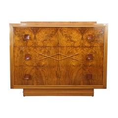 Art Deco Burlwood Walnut Wooden De Coene Design Chest of Drawers