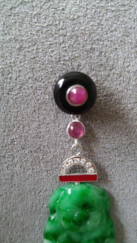 Mixed Cut Art Deco Style Burma Jade Buddha Gold Diamonds Rubies Red Enamel Dangle Earrings For Sale